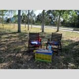 Draußen zu Hause /Picknick am Wegesrand